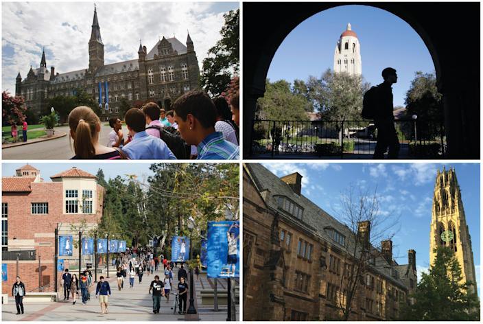 This combination of images shows college campuses, clockwise from top left, Georgetown University, Stanford University, Yale University, and University of California, Los Angeles.
