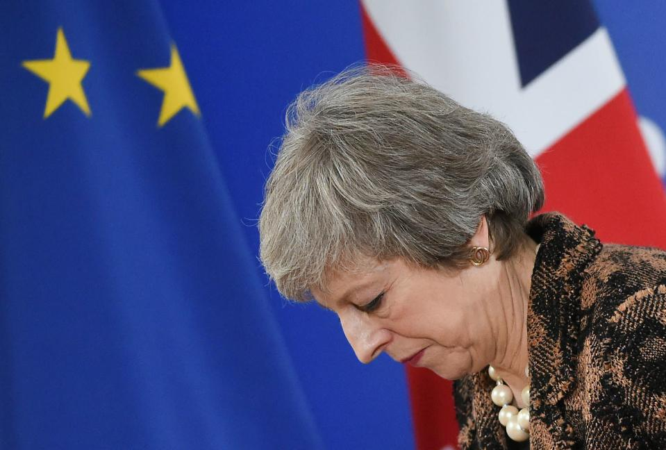 Theresa May feeling the stress of Brexit on her last visit to Brussels (Getty)