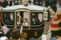 <p>Princess Diana's bridesmaids were treated like royalty (granted, some of them were royalty), arriving in a gold carriage. </p>