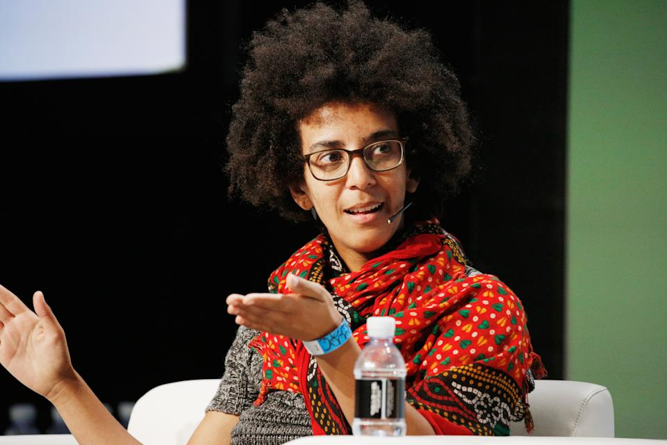 SAN FRANCISCO, CA - SEPTEMBER 07:  Google AI Research Scientist Timnit Gebru speaks onstage during Day 3 of TechCrunch Disrupt SF 2018 at Moscone Center on September 7, 2018 in San Francisco, California.  (Photo by Kimberly White/Getty Images for TechCrunch)