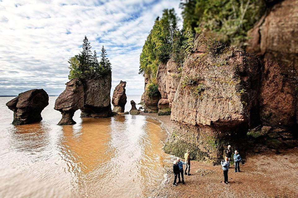 """<p>Every day, the Bay of Fundy rises and falls <a href=""""https://go.redirectingat.com?id=74968X1596630&url=https%3A%2F%2Fwww.nationalgeographic.com%2Ftravel%2Fcanada%2Fbay-of-fundy-new-brunswick-nova-scotia%2F&sref=https%3A%2F%2Fwww.elledecor.com%2Flife-culture%2Fg37819369%2Funique-beaches-around-the-world%2F"""" rel=""""nofollow noopener"""" target=""""_blank"""" data-ylk=""""slk:48 feet"""" class=""""link rapid-noclick-resp"""">48 feet</a>. That conceals and reveals a lot of interesting beaches. When the tide is out, the receding water uncovers the massive <a href=""""https://www.lonelyplanet.com/canada/activities/hopewell-rocks-admission/a/pa-act/v-43008P1/361212"""" rel=""""nofollow noopener"""" target=""""_blank"""" data-ylk=""""slk:Hopewell Rocks"""" class=""""link rapid-noclick-resp"""">Hopewell Rocks</a>, which were carved by the water. When the tide is in, the natural structures are still marvelous and perhaps even a little mysterious.</p>"""