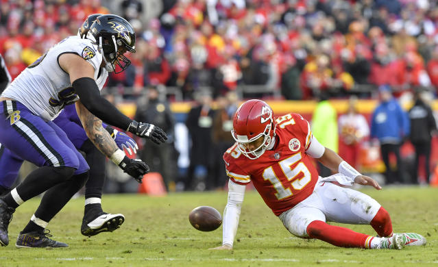 <p>Kansas City Chiefs quarterback Patrick Mahomes loses control of the ball in overtime, but the Chiefs ended up recovering it against the Baltimore Ravens on Sunday, Dec. 9, 2018 at Arrowhead Stadium in Kansas City, Mo. The Chiefs won, 27-24. (John Sleezer/Kansas City Star/TNS) </p>