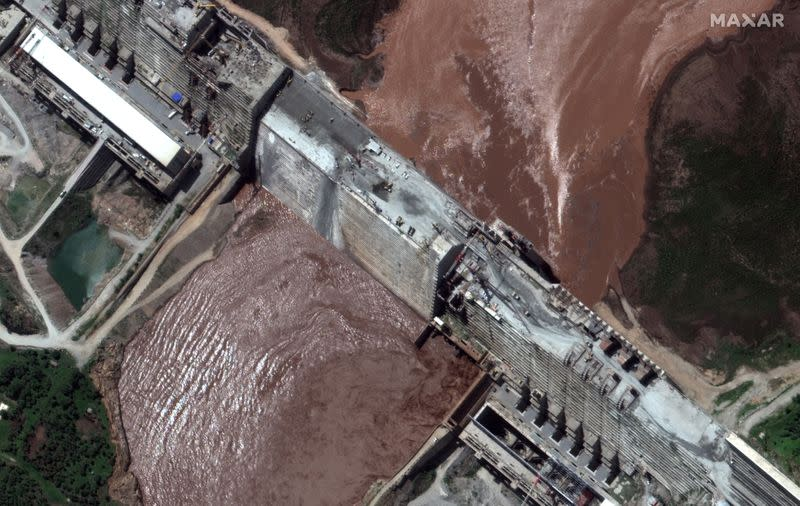 A handout satellite image shows a closeup view of the Grand Ethiopian Renaissance Dam and the Blue Nile River in Ethiopia