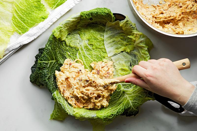Stuffing this cabbage: infinitely more fun than searching for your hopelessly drunk friends at a St. Patrick's Day parade.