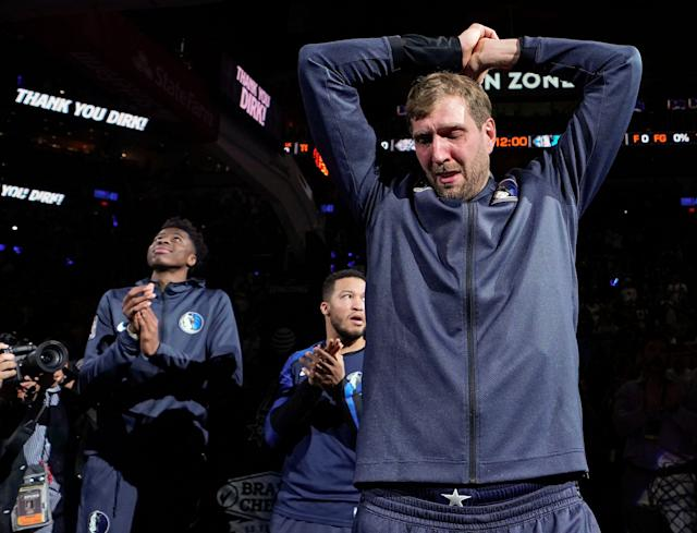 A tribute from the Spurs before his final NBA game moved Dirk Nowitzki to tears on Wednesday. (AP)