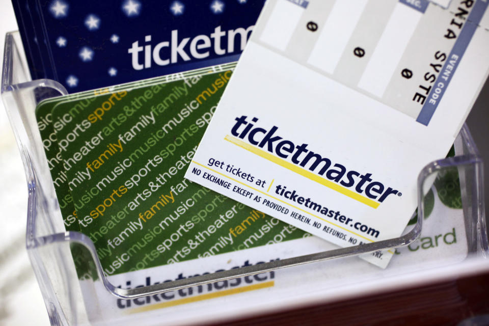 FILE - In this May 11, 2009, file photo, Ticketmaster tickets and gift cards are shown at a box office in San Jose, Calif. On Wednesday, Dec. 30, 2020, a federal judge in New York signed off on a deal that will allow Ticketmaster to pay a $10 million fine to escape prosecution over criminal charges accusing the company of hacking into the computer system of a startup rival. (AP Photo/Paul Sakuma, File)