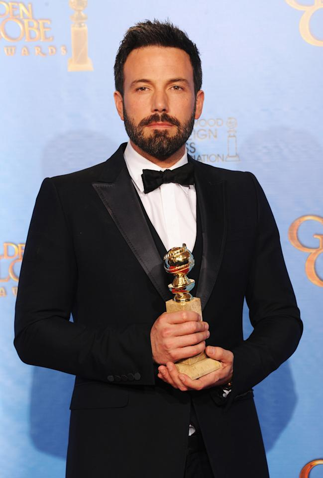 "Actor-director Ben Affleck, winner of Best Director of a Motion Picture for ""Argo,"" poses in the press room during the 70th Annual Golden Globe Awards held at The Beverly Hilton Hotel on January 13, 2013 in Beverly Hills, California.  (Photo by Kevin Winter/Getty Images)"