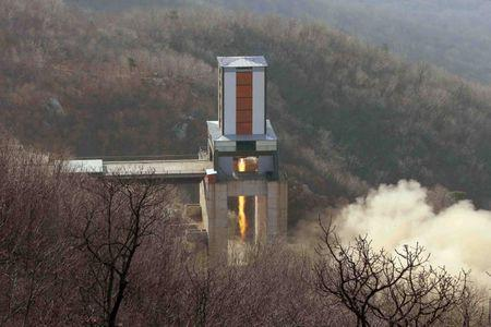 A new engine for an intercontinental ballistic missile (ICBM) is tested at a test site at Sohae Space Center in Cholsan County, North Pyongan province in North Korea in this undated photo released April 9, 2016. KCNA/via REUTERS