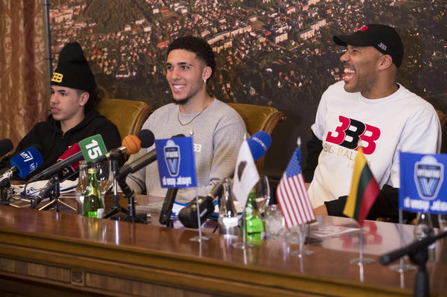 LaMelo, LiAngelo, and LaVar Ball were introduced at a press conference in Lithuania, and like everything the Balls do, it was insane. (AP Photo)