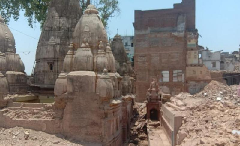 Temples have been unearthed after homes have been demoished in Varanasi. Saurabh Sharma and Amit Singh