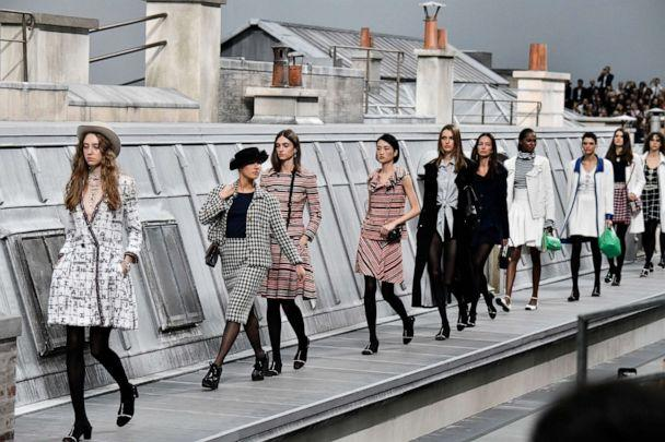 PHOTO: A spectator inserting herself among the lineup of models during the finale, identified as Marie Benoliele, during the Chanel Ready to Wear Spring/Summer 2020 fashion show as part of Paris Fashion Week on October 01, 2019, in Paris. (Victor Virgile/Gamma-Rapho via Getty Images)