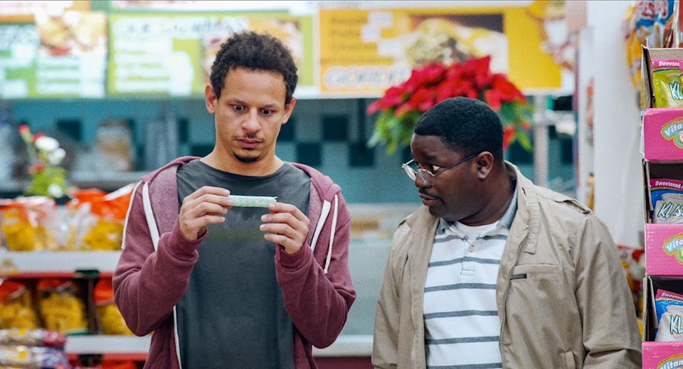 Eric André as Chris Carey and Lil Rel Howery as Bud Malone in Bad Trip (Netflix)