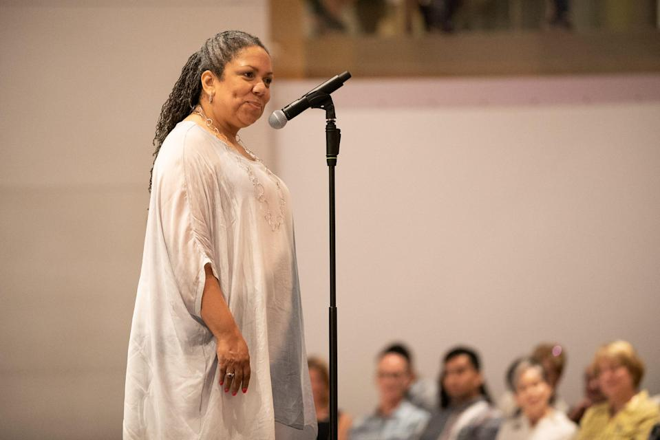 Vanessa Wilson tells her tale during Arizona Storytellers Project presents Stylish Stories at the Phoenix Art Museum on Wednesday, May 15, 2019.