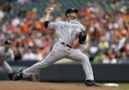 Chicago White Sox starting pitcher Andre Rienzo throws to the Baltimore Orioles in the first inning of a baseball game, Sunday, Sept. 8, 2013, in Baltimore. (AP Photo/Patrick Semansky)