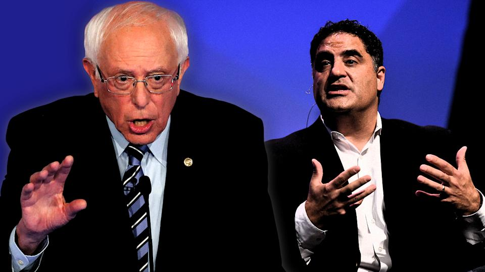 Bernie Sanders and Cenk Uygur. (Photo illustration: Yahoo News; photos: AP, Seb Daly/Sportsfile via Getty Images)
