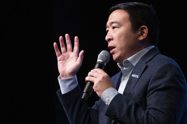 Andrew Yang speaks during the New Hampshire Youth Climate and Clean Energy Town Hall on Feb. 5 in Concord, N.H. (Mary Altaffer/AP)