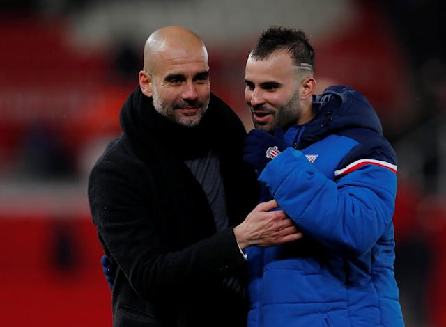 "Soccer Football - Premier League - Stoke City vs Manchester City - bet365 Stadium, Stoke-on-Trent, Britain - March 12, 2018 Manchester City manager Pep Guardiola with Stoke City's Jese after the match Action Images via Reuters/Andrew Couldridge EDITORIAL USE ONLY. No use with unauthorized audio, video, data, fixture lists, club/league logos or ""live"" services. Online in-match use limited to 75 images, no video emulation. No use in betting, games or single club/league/player publications. Please contact your account representative for further details."