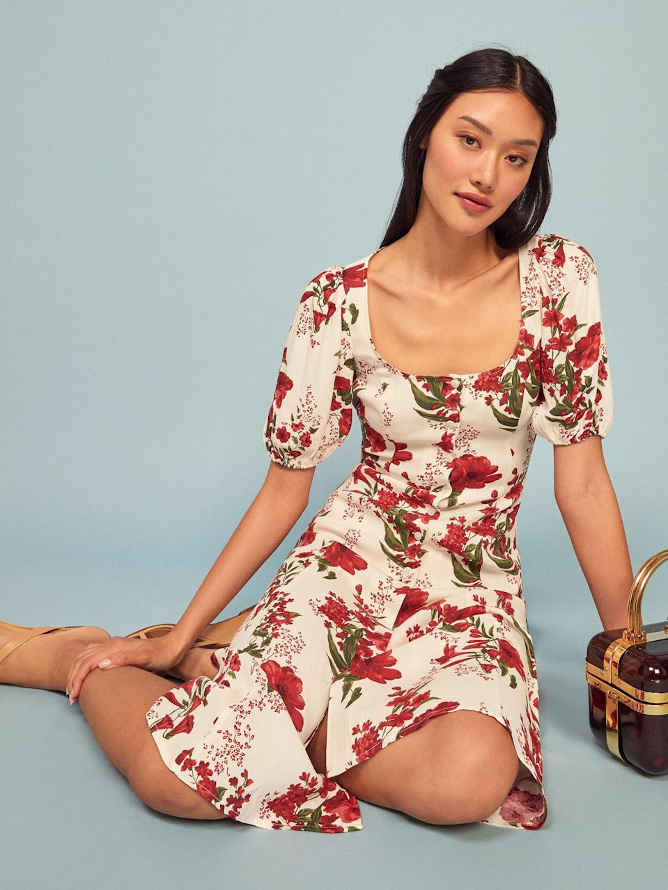 "<p>You know you want this <a href=""https://www.popsugar.com/buy/Reformation-Beechwood-Dress-552341?p_name=Reformation%20Beechwood%20Dress&retailer=thereformation.com&pid=552341&price=248&evar1=fab%3Aus&evar9=45873724&evar98=https%3A%2F%2Fwww.popsugar.com%2Ffashion%2Fphoto-gallery%2F45873724%2Fimage%2F47262120%2FReformation-Beechwood-Dress&list1=shopping%2Cdresses%2Cspring%2Cflorals%2Cspring%20fashion&prop13=mobile&pdata=1"" class=""link rapid-noclick-resp"" rel=""nofollow noopener"" target=""_blank"" data-ylk=""slk:Reformation Beechwood Dress"">Reformation Beechwood Dress</a> ($248).</p>"