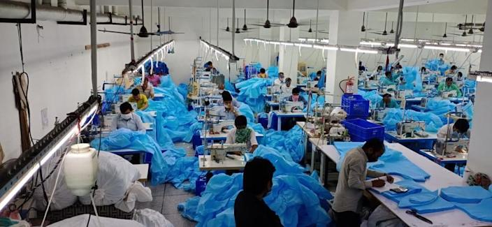 A scene from the masks' manufacturing unit of AKS Clothing.