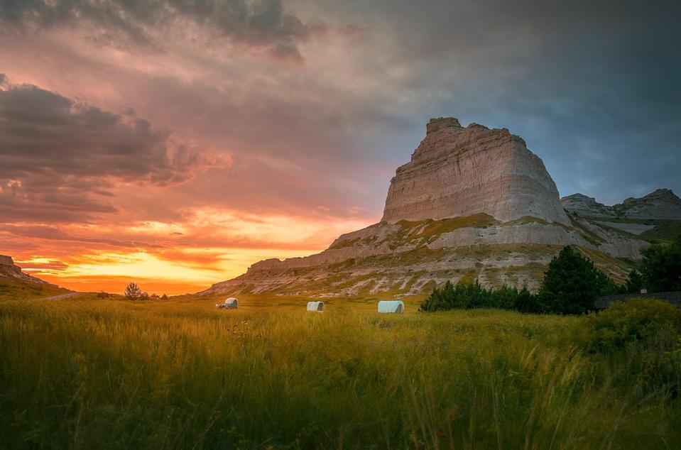 Scotts Bluff National Monument at Gering, Nebraska. The National Parks site is surrounded by 1,751 abandoned wells, according to new analysis (Getty Images/iStockphoto)