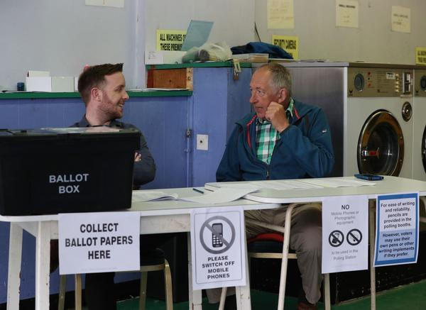 <p>The Ace Launderette in Oxford has doubled up as a polling station (Picture: PA) </p>