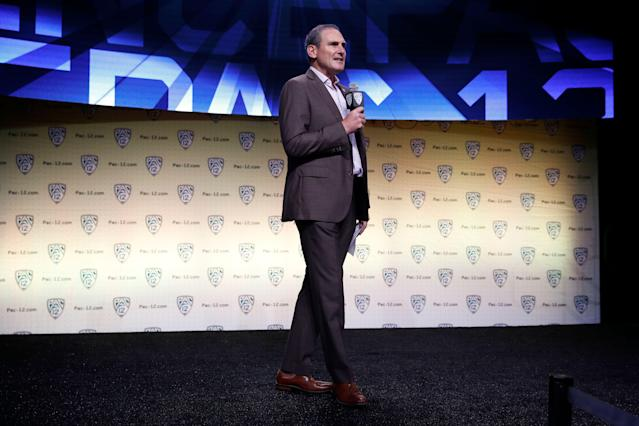 Pac-12 commissioner Larry Scott received a raise in 2017, according to federal tax filings released by the conference on Monday. (AP Photo/Jae C. Hong)