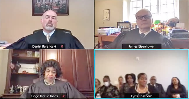 Judge Lyris Younge, lower right, during her sanction hearing in April. (Pennsylvania Court of Judicial Discipline)