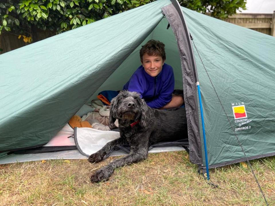 Max was inspired to take on the challenge after being given the tent by a family friend and neighbour who told him to 'go and have an adventure with it' before passing away. (SWNS)