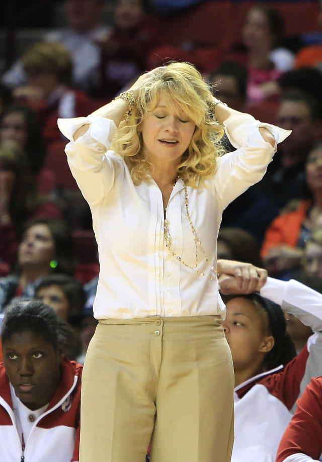 Oklahoma head coach Sherri Coale reacts to a call against her team after a play against Oklahoma State during the first half of an NCAA college basketball game in Norman, Okla., Saturday, Feb. 1, 2014. (AP Photo/Alonzo Adams)