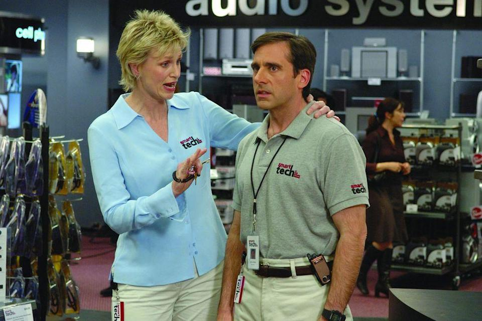 Jane Lynch and Steve Carell in The 40-Year-Old Virgin (Credit: Universal)