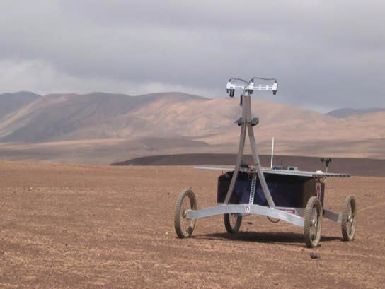 The four-wheeled, solar-powered Zoë rover completed a two-week traverse of Chile's Atacama Desert on June 29, 2013.