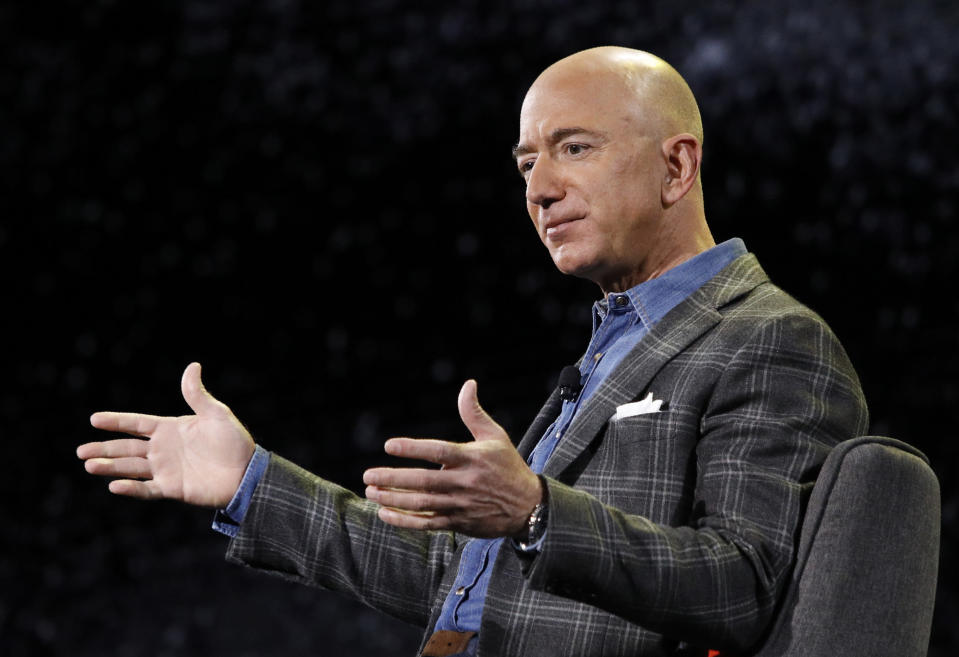 FILE - In this Thursday, June 6, 2019, file photo, Amazon CEO Jeff Bezos speaks at the Amazon re:MARS convention, in Las Vegas. Amazon said Tuesday, Feb. 2, 2021, that Bezos is stepping down as CEO later in the year, a role he's had since he founded the company nearly 30 years ago. (AP Photo/John Locher, File)