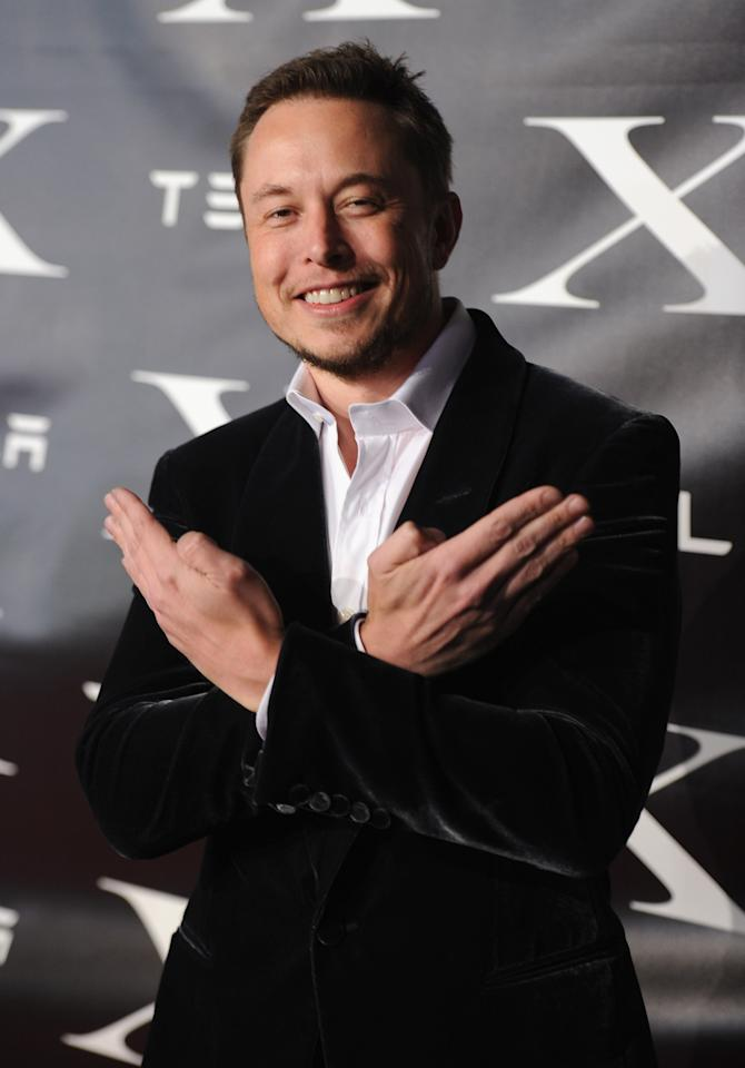 LOS ANGELES, CA - FEBRUARY 09:  Co-Founder and Head of Product Design at Tesla Motors Elon Musk arrives at Tesla Worldwide Debut of Model X on February 9, 2012 in Los Angeles, California.  (Photo by Jason Merritt/Getty Images for Tesla)