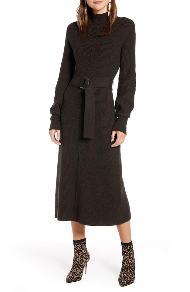 """<p>This <a href=""""https://www.popsugar.com/buy/Something-Navy-Rib-Long-Sleeve-Sweater-Dress-488523?p_name=Something%20Navy%20Rib%20Long-Sleeve%20Sweater%20Dress&retailer=shop.nordstrom.com&pid=488523&price=119&evar1=fab%3Aus&evar9=46586805&evar98=https%3A%2F%2Fwww.popsugar.com%2Ffashion%2Fphoto-gallery%2F46586805%2Fimage%2F46587317%2FSomething-Navy-Rib-Long-Sleeve-Sweater-Dress&list1=shopping%2Cfall%20fashion%2Cdresses%2Cworkwear&prop13=mobile&pdata=1"""" rel=""""nofollow"""" data-shoppable-link=""""1"""" target=""""_blank"""" class=""""ga-track"""" data-ga-category=""""Related"""" data-ga-label=""""https://shop.nordstrom.com/s/something-navy-rib-long-sleeve-sweater-dress-nordstrom-exclusive/5271920?origin=category-personalizedsort&amp;breadcrumb=Home%2FWomen%2FClothing%2FDresses&amp;color=brown%20ganache%20heather"""" data-ga-action=""""In-Line Links"""">Something Navy Rib Long-Sleeve Sweater Dress </a> ($119) is so cozy.</p>"""