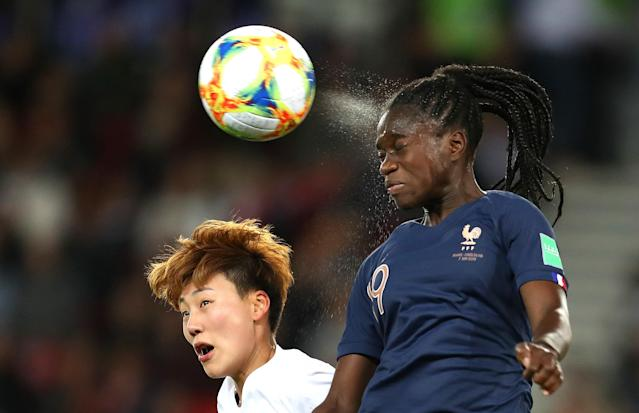 Griedge Mbock Bathy of France heads the ball during the 2019 FIFA Women's World Cup France group A match between France and Korea Republic at Parc des Princes on June 07, 2019 in Paris, France. (Photo by Catherine Ivill - FIFA/FIFA via Getty Images)