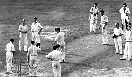 Jan 1948: Sir Donald Bradman in action his last innings during the 1948 England v Australia Test at the Oval, London, England. <i>Images: Getty</i>