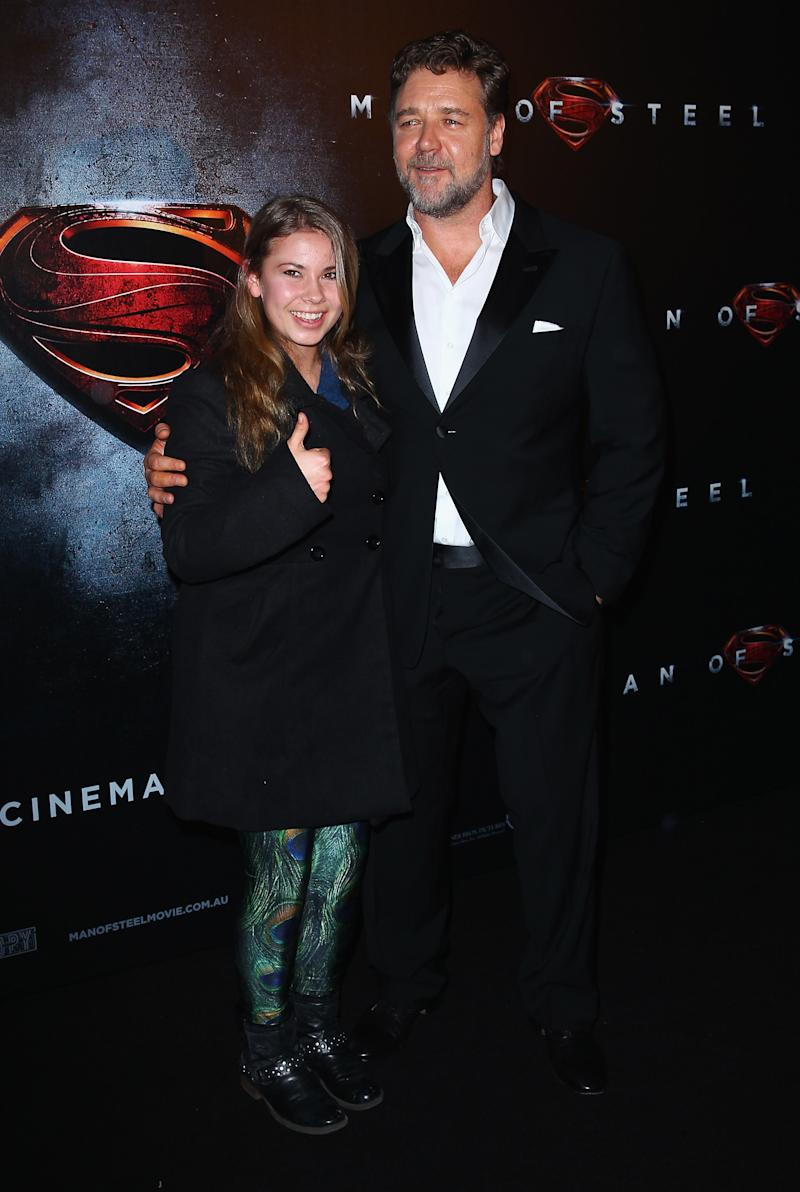 "SYDNEY, AUSTRALIA - JUNE 24: Bindi Irwin and Russell Crowe attend the ""Man Of Steel"" Australian Premiere at Event Cinemas, George Street on June 24, 2013 in Sydney, Australia. (Photo by Don Arnold/WireImage)"