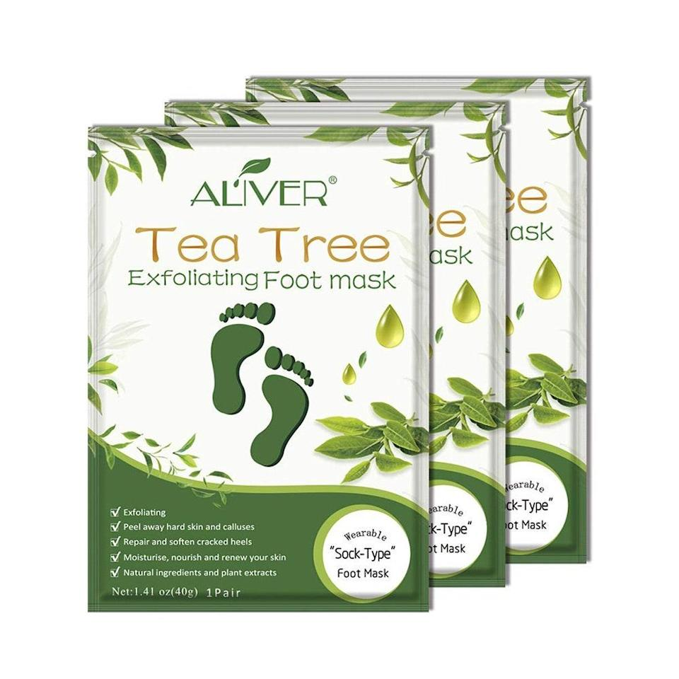 """<p>If consistent exfoliation and silky-soft feet is the goal, Aliver's Tea Tree Exfoliating Foot Mask is a great, budget-friendly option. """"The <a href=""""https://www.allure.com/gallery/best-facial-oils-for-acne?mbid=synd_yahoo_rss"""" rel=""""nofollow noopener"""" target=""""_blank"""" data-ylk=""""slk:tea tree oil"""" class=""""link rapid-noclick-resp"""">tea tree oil</a> found in this mask has natural anti-inflammatory properties and soothing effects on the skin,"""" Solomon says. Other key ingredients include <a href=""""https://www.allure.com/gallery/biggest-retinol-cream-myths?mbid=synd_yahoo_rss"""" rel=""""nofollow noopener"""" target=""""_blank"""" data-ylk=""""slk:retinol"""" class=""""link rapid-noclick-resp"""">retinol</a>, glycolic acids, and fruit extracts such as lemon, orange, and apple, which effectively exfoliate the skin.</p> <p>Pop these on for 30 to 60 minutes, rinse your feet off, and in about five to seven days, your rough, dead skin will start falling off — in the most grossly satisfying way possible. These masks also come in a rose-infused version, if you prefer a sweeter-smelling treatment.</p> <p><strong>$13 for three</strong> (<a href=""""https://www.amazon.com/Exfoliating-Calluses-Repair-Rough-Essence/dp/B0829NQLCN"""" rel=""""nofollow noopener"""" target=""""_blank"""" data-ylk=""""slk:Shop Now"""" class=""""link rapid-noclick-resp"""">Shop Now</a>)</p>"""