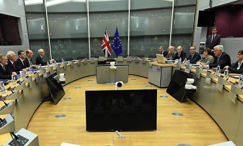 David Davis (second left) and his delegation attend a meeting with their EU negotiating partners.