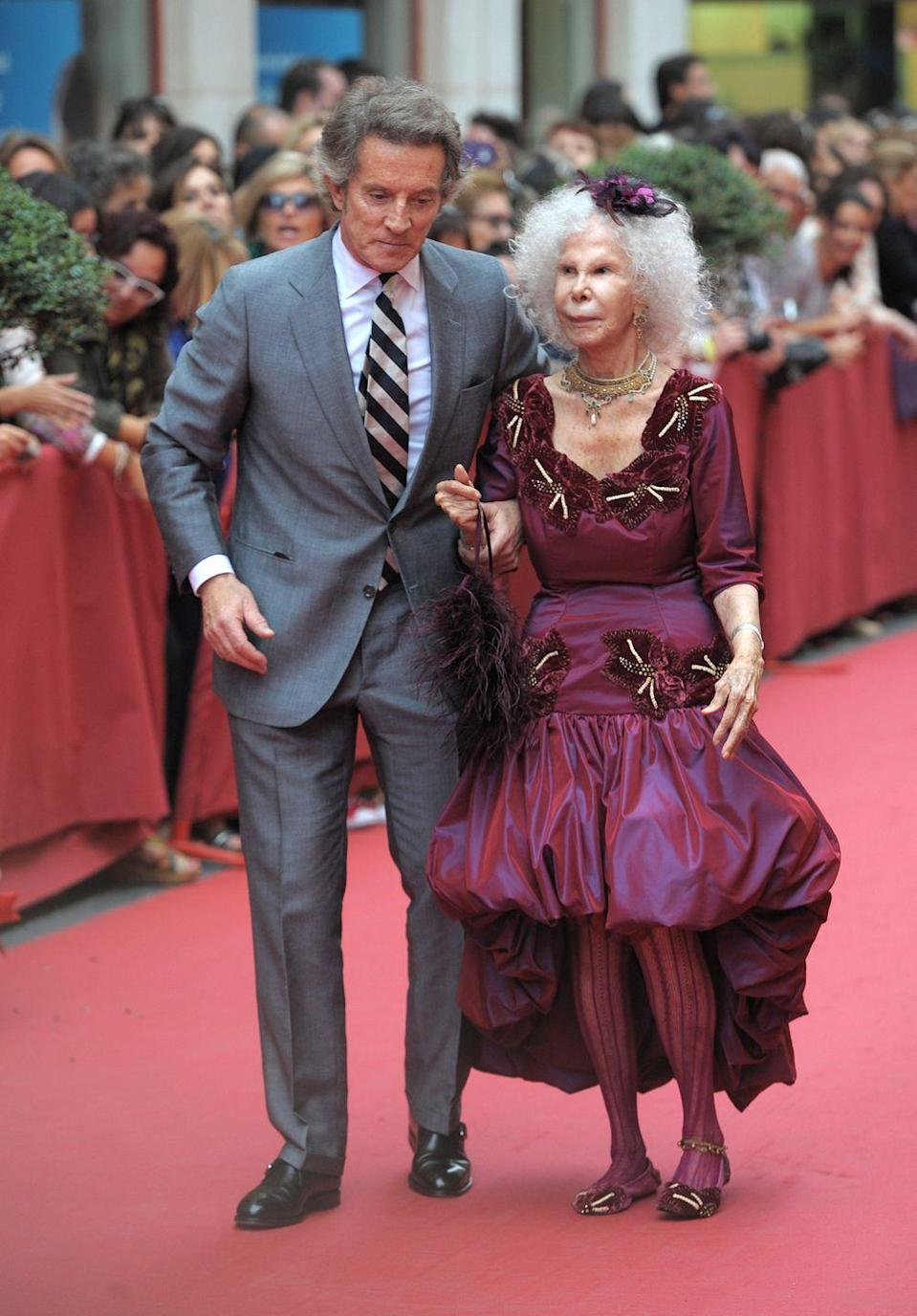 <p>The Duchess of Alba, Cayetana Fitz-James Stuart, married civil servant Alfonso Díez in 2011. At the time of their marriage the Duchess was 85 and her husband was 60, to the worry of her family. She announced that Díez had officially renounced all claims to her $5 billion fortune. The Duchess of Alba, who possessed the most aristocratic titles of anyone in the world, passed away in 2014. </p>