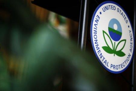 The U.S. Environmental Protection Agency (EPA) sign is seen on the podium at EPA headquarters in Washington, U.S., July 11, 2018. REUTERS/Ting Shen
