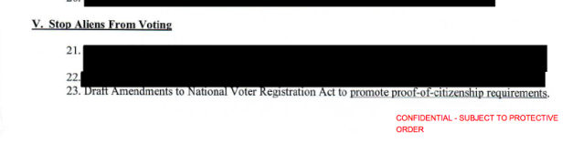 Kris Kobach brought a memo to President Donald Trump last year that suggested amending federal voting law to promote proof-of-citizenship requirements. (Kris Kobach memo)
