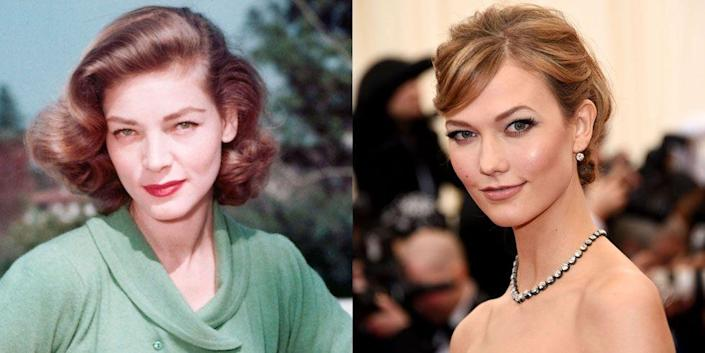 <p>If they weren't decades apart in age, we'd be pretty sure that Lauren Bacall and Karlie Kloss, with their heart-shaped face and deep set eyes, were long lost twins. </p>