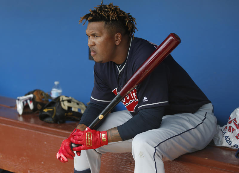 Cleveland Indians' Jose Ramirez sits in the dugout before the team's spring training baseball game against the Chicago White Sox on Sunday, March 24, 2019, in Glendale, Ariz. (AP Photo/Sue Ogrocki)