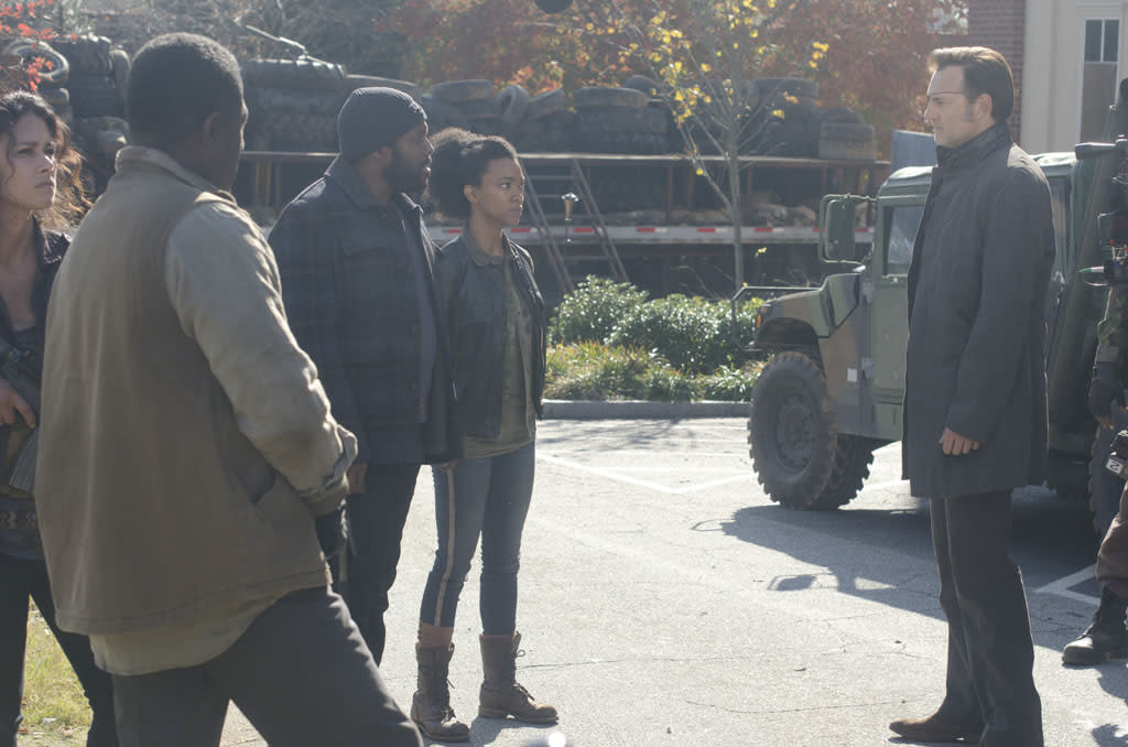 "Tyreese (Chad Coleman), Sasha (Sonequa Martin-Green) and The Governor (David Morrissey) in ""The Walking Dead"" Season 3 Finale, ""Welcome to the Tombs."""