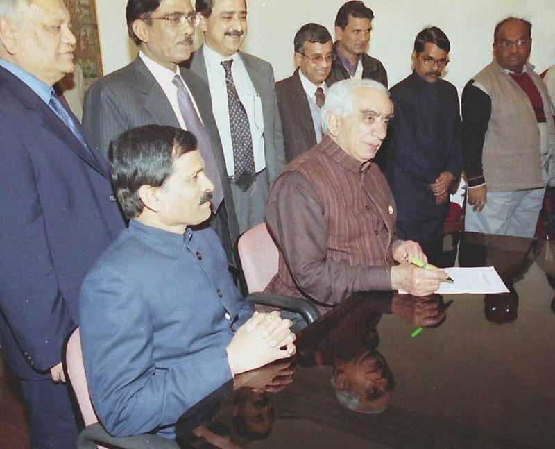 Jaswant Singh giving final touch to interim budget on February 2, 2004.