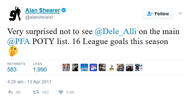 Alan Shearer tweets about Dele Alli