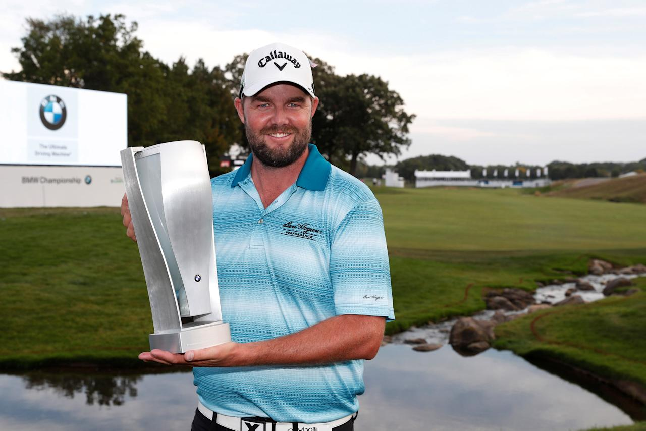 Sep 17, 2017; Lake Forest, IL, USA; Marc Leishman poses with the BMW Championship Trophy after winning the BMW Championship golf tournament at Conway Farms Golf Club. Mandatory Credit: Brian Spurlock-USA TODAY Sports     TPX IMAGES OF THE DAY