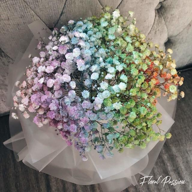 Rainbow Baby's Breath bouquet by Floral Passion ($40)