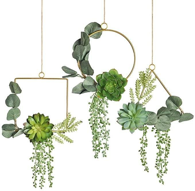 <p>These unique <span>Pauwer Artificial Succulent Wreath Set of 3</span> ($32) will look stunning in any room, even in your bathroom!</p>